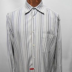 Ermenegildo Zegna L White Blue Brown Black Shirt